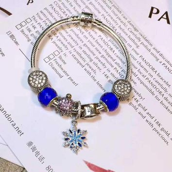 Authentic Pandora Women Fashion Crystal Plated Charm Bracelet Jewelry 925 Sterling Silver Inspirationa Blue