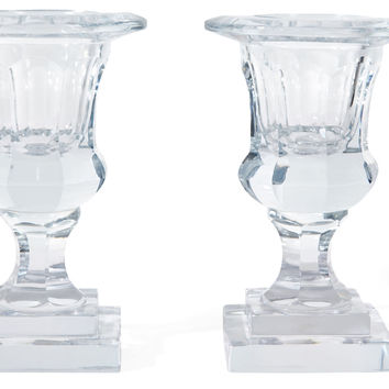 Pair of Crystal Urn Candleholders, Candlesticks