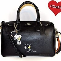 COACH X Peanuts SNOOPY Limited Edition Bennett Satchel Bag & Key Chain Fob NWT
