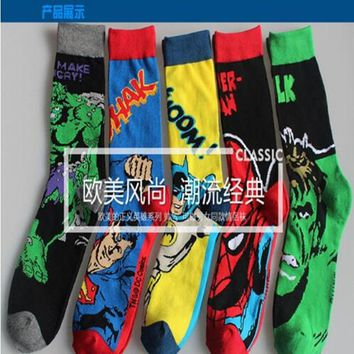 DC Marvel The Incredible Hulk Cartoon socks Superman Spiderman Comics Men's sock Warm Stitching pattern Antiskid Invisib socks