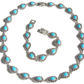 Marcasite with Turquoise Necklace & Bracelet Silver Set