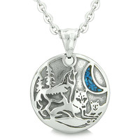 Unity Amulet Howling Wolf Family Wild Moon Simulated Turquoise Chips Pendant 22 Inch Necklace