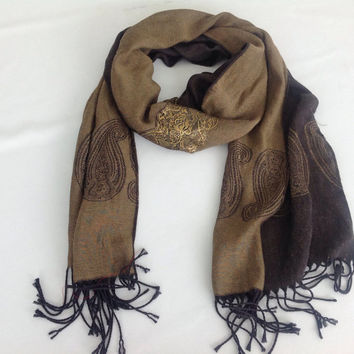 Dark BROWN LONG SCARF, Tan Scarf with Fringe, Christmas Gift for Mother, One of Kind Gift Paisley Scarf, Pashmina Shawl, Neck Scarf for Her
