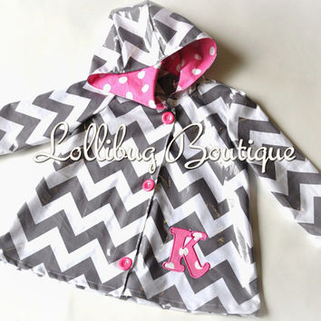 Personalized Chevron Raincoat, Girls Sizes 2-7