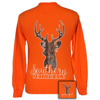Girlie Girl Originals Saftey Orange Camo Deer Long Sleeve T-Shirt