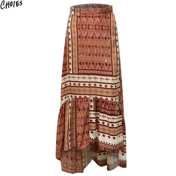Multi Color Geometric And Tribal Print High Low Ruffle Hem Maxi Skirt Women High Waist Casual Shift Beach Long Skirts