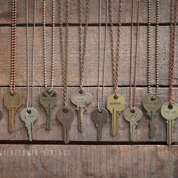 Key Necklace | Hand Stamped Vintage