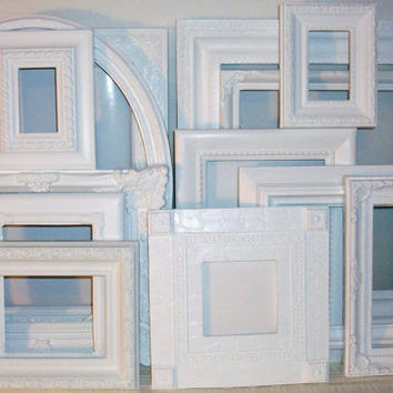 Set of 13 Shabby Chic Bright White Picture Frames for Gallery Wall