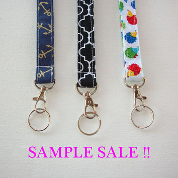 Lanyard  ID Badge Holder - Lobster clasp and key ring - gold anchors navy, black quatrefoil, or hedgehogs
