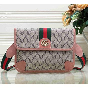 GUCCI Trending Women Shopping Bag Metal GG Stripe Leather Satchel Crossbody Shoulder Bag Pink I