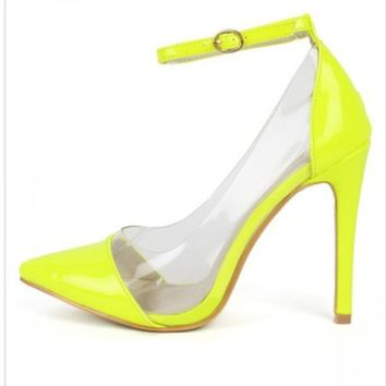 Liliana Olga 1-A Patent Lucite Pointy Toe Pumps Shoes Heels Neon Yellow or Pink