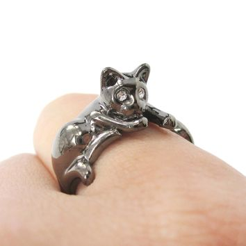 Relaxing Kitty Cat Animal Wrap Around Ring in Gunmetal Silver | US Sizes 4 to 9 Available
