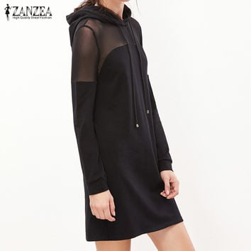 ZANZEA 2017 Women Dress Ladies Long Sleeve Hooded Mini Dresses Casual Mesh Patchwork See Through Dre