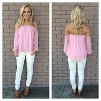 Pink Off Shoulder 3/4 Sleeve Blouse