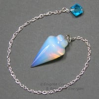 Opalite Smooth Cone Crystal Pendulum w/ Swarovski Crystal Finger Grip, SECONDS, SSP19