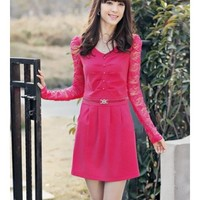 Lace Women Autumn New Style Korean Style Slim Long Sleeve V-neck Polyester Rose Dress M/L/XL/XXL @WH0415ro $20.99 only in eFexcity.com.