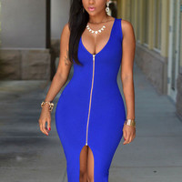 Sleeveless Front Zipper Slit Midi Dress