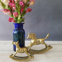 Brass Rocking Horse/ Small Rocking Horse/ Vintage Rocking Horse/ Nursery Decor/ Gold Nursery Decor/ Vintage Baby Decor