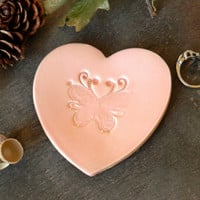 Butterfly Heart Jewelry Dish, Wedding Ceramic Ring Dish, Pink Pottery Bridal Plate, Animal Romantic Earrings Holder, Pink Butterfly
