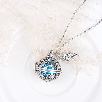 DoreenBeads Pregnancy Baby Wish Box butterfly Pendants with blue sounding beads Copper Silver tone Fashion Necklace 54cm,1 Piece