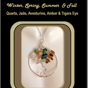 tree of life jewelry,family tree jewelry,four seasons tree of life,winter,summer,spring,fall,birthstone jewelry,mother daughter jewelry, zen