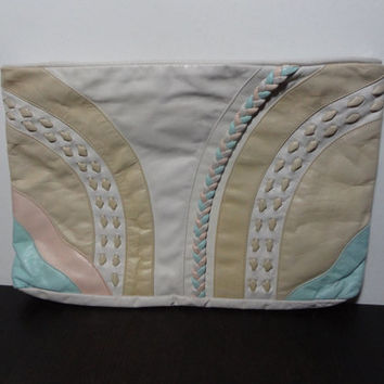 Vintage Retro Off White Clutch Handbag/Purse with a Aqua Blue, Pink, and Beige Geometric Accent Patterns, Weave, and Braid Details