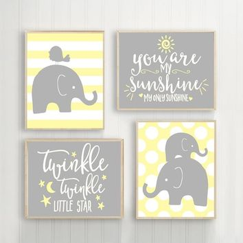 Girl Elephant Nursery Wall Art, Yellow Gray Elephant Nursery Decor, You Are My Sunshine, Twinkle Little Star, Baby Girl Quotes, Set of 4