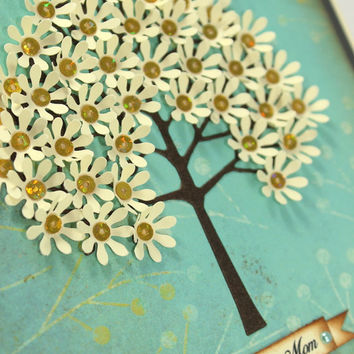 Mother's Day, Love you Mom, Handmade Card - Flower Tree- Shabby Chic