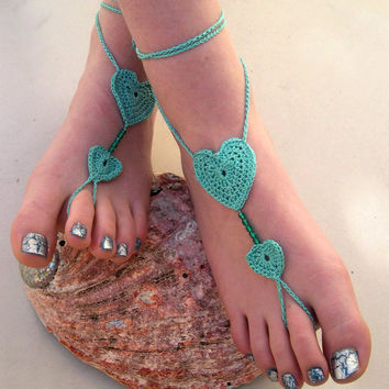 Mint Barefoot sandals - Crocheted Heart Anklet - Foot Jewelry - Beach Wedding - Soleless - Bridesmaid accessory - Summer 2013
