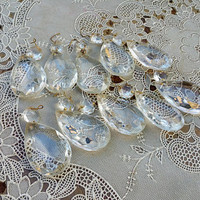 Vintage Large Teardrop Chandelier Crystals Set of Ten