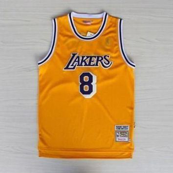 PEAPJ3V LA Lakers #8 Kobe Bryant 1996-1997 Season Yellow Swingman Jersey