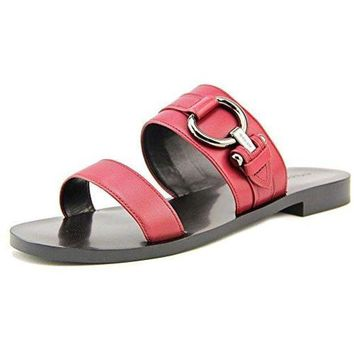 DCCKG2C Coach Cindy Women Open Toe Leather Burgundy Slides Sandal
