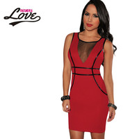vestido de renda Black/Red   Bodycon Drees With Mesh And Faux leather Trim new sexy summer dress autumn dress club dress female