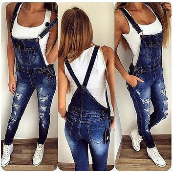 Fashion Womens Ladies Casual Denim Overalls Long Ripped Stretch Pencil Jeans