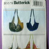 Women's, Teen Handbag, Purse, Hobo Style Shoulder Tote Bag Butterick B5578 Sewing Pattern Uncut Great for Denim,Leather, Cotton Prints