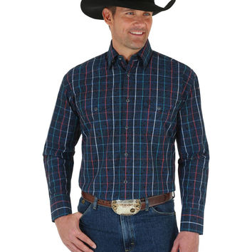 Wrangler George Strait Troubadour Mens Western Snap Plaid Overprint Shirt