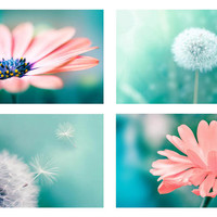 nature photography dandelion botanical photography floral set 8x10 8x12 fine art photography flower pink peach teal wall art dandelion decor