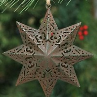 Green Rust Moravian Star Metal Christmas Tree Ornaments, Set of 6 - Seasonal & Holiday Decorations