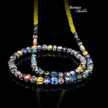 """Beads Necklace From Borneo.NEW BEADS.Tribal Dayak Ethnic Handmade Glass Bead // Currency Trade Bead/Colorful Bead/17""""Long/3.75oz/ Pattern#1"""