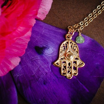 Gold Hamsa Necklace - Hand Filigree Charm Pendant Necklace w Blue Green Chrysoprase (Choose stone) - Customizable - Lucky Protection