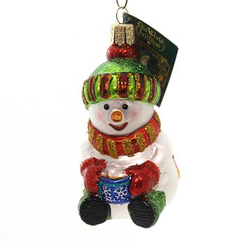 Old World Christmas Snowman W/ Cocoa Glass Ornament