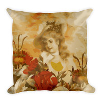 Beautiful Abstract Vintage Woman Floral Pillow