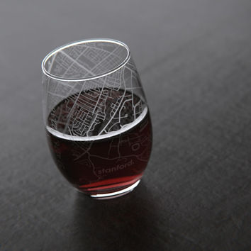 Stanford, CA - Stanford University - College Town Maps Stemless Wine Glass