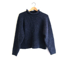 Vintage nubby blue sweater. cropped sweater. simple pullover. nubby knit top.
