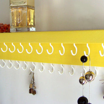 Yellow Necklace Holder Rack - Storage Shelf with 25 hooks for your Necklaces / Bracelets / Earrings; Other colors available too!