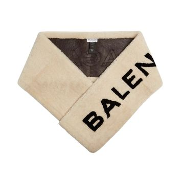 Cream Shearling Fur Scarf by Balenciaga