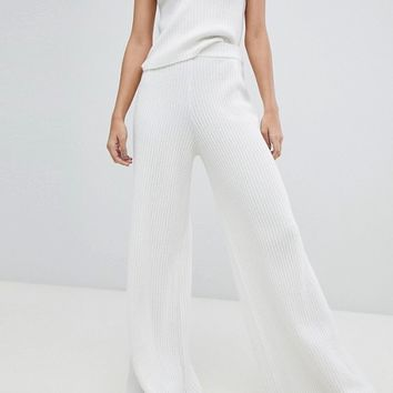 Micha Lounge Ribbed Knitted Slouch Pants Co-Ord at asos.com