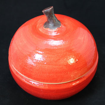 Large Ceramic Apple For the Teacher Jar Pottery Apple Box Apple Lidded Jar Centerpiece Holiday Table
