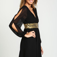 Black Coldshoulder Gold Band Dress