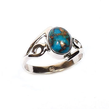 Blue Copper Turquoise Ring - Sterling Silver Ring, Gemstone Ring, Stacking Ring, November Birthstone Ring, Designer Silver Ring - Gift Ring